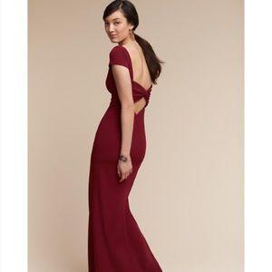 NWT Katie may Bordeaux capo sleeve open back dress